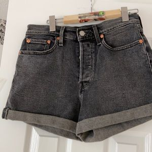 jean shorts high rise button fly